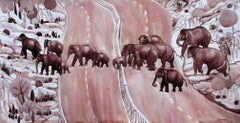 """Migration, Group of Elephants, Ink on paper by Contemporary Artist """"In Stock"""""""