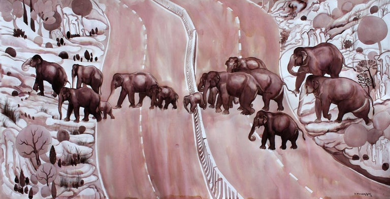 """Elan Cheziyan S Animal Painting - Migration, Group of Elephants, Ink on paper by Contemporary Artist """"In Stock"""""""