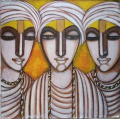 "Pandits, Dry Pigment Tempera on Canvas, Black,Yellow by Indian Artist ""In Stock"""