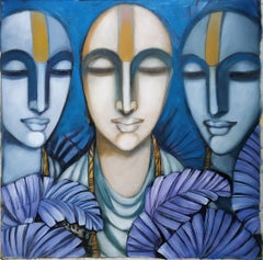 "Pandits, Dry Pigment Tempera on Canvas, Black, Blue by Indian Artist ""In Stock"""