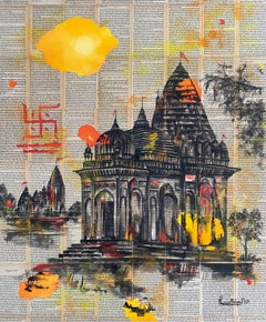 """Untitled, Mixed Media Ink & Acrylic on Canvas by Indian Artist """"In Stock"""""""