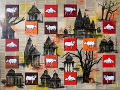 """Untitled Mixed Media Ink & Acrylic on Canvas on Wood by Indian Artist """"In Stock"""""""