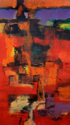 """Red Landscape, Oil on Canvas, Red, Blue, Yellow by Indian Artist """"In Stock"""""""