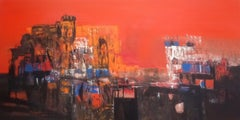 """Untitled, Acrylic on Canvas, Orange, Black by Contemporary Artist """"In Stock"""""""