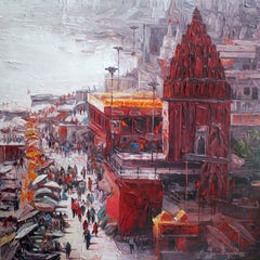 """Varanasi, Acrylic on Canvas, Red, Orange by Contemporary Artist """"In Stock"""""""