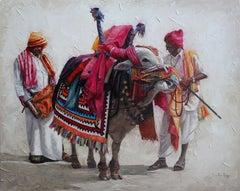 "Gangireddu, Acrylic on Canvas, Orange, Red by Contemporary Artist ""In Stock"""