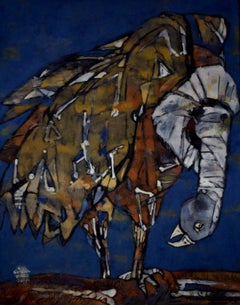 """The Bird, Tempera on Paper, Blue, Black by Contemporary Artist """"In Stock"""""""