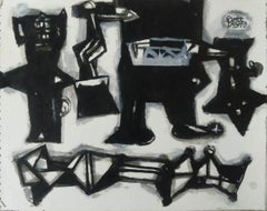 """Khoj, Acrylic on Paper, Black, White colours by Contemporary Artist """"In Stock"""""""