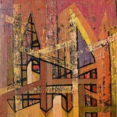 """Untitled, Acrylic on Canvas, Pink, Red colours by Contemporary Artist """"In Stock"""""""