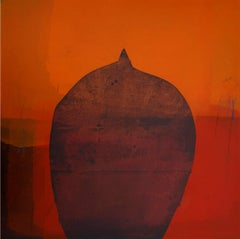 """Untitled, Acrylic on Canvas, Orange colours by Contemporary Artist """"In Stock"""""""