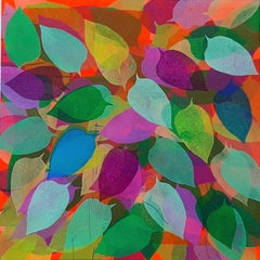 """Petals , Acrylic on Canvas, Red, Pink, Blue by Contemporary Artist """"In Stock"""""""