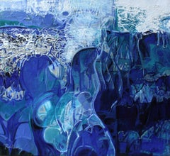 "Untitled, Acrylic on Canvas, Blue colours by Contemporary Artist ""In Stock"""