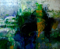 "Untitled, Acrylic on Canvas, Green, Blue, White by Contemporary Artist""In Stock"""