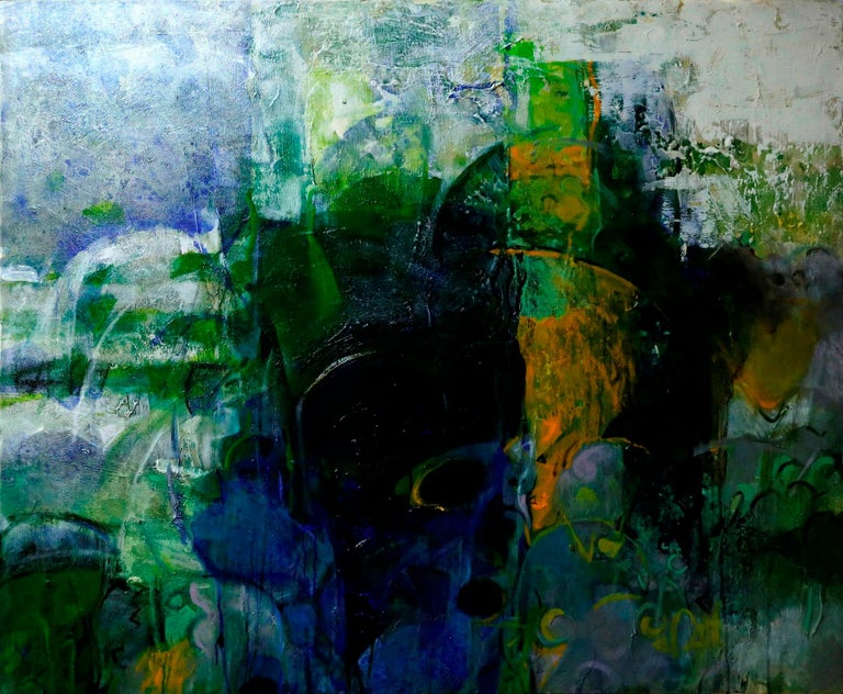 """T. Athi Veerapandian Abstract Painting - Untitled, Acrylic on Canvas, Green, Blue, White by Contemporary Artist""""In Stock"""""""
