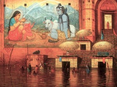 "Varanasi, Holy City, Acrylic on Canvas, Red,Yellow Contemporary Artist""In Stock"""