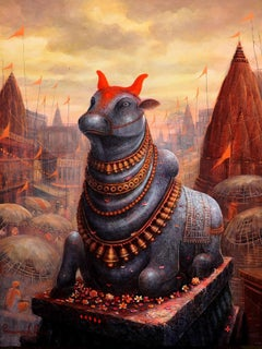 "Nandi-IX, Acrylic on Canvas, Red, Orange, Yellow Contemporary Artist ""In Stock"""