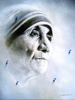 """Mother, Acrylic on Canvas, White, Grey Colours by Contemporary Artist """"In Stock"""""""