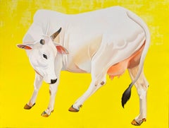 "Cow, Acrylic on Canvas, Yellow, White colours by Contemporary Artist ""In Stock"""