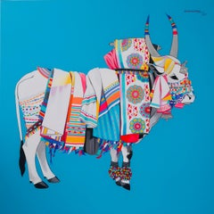 """Gangireddu, Acrylic on Canvas, Blue, White Red by Contemporary Artist """"In Stock"""""""