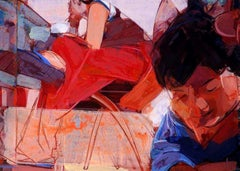 "Tango, Acrylic on canvas, Red, Brown, Blue, Indian Contemporary Artist""In Stock"""