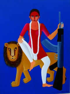 """Durga-2, Acrylic on Canvas, Blue, Red, Yellow by Contemporary Artist """"In Stock"""""""