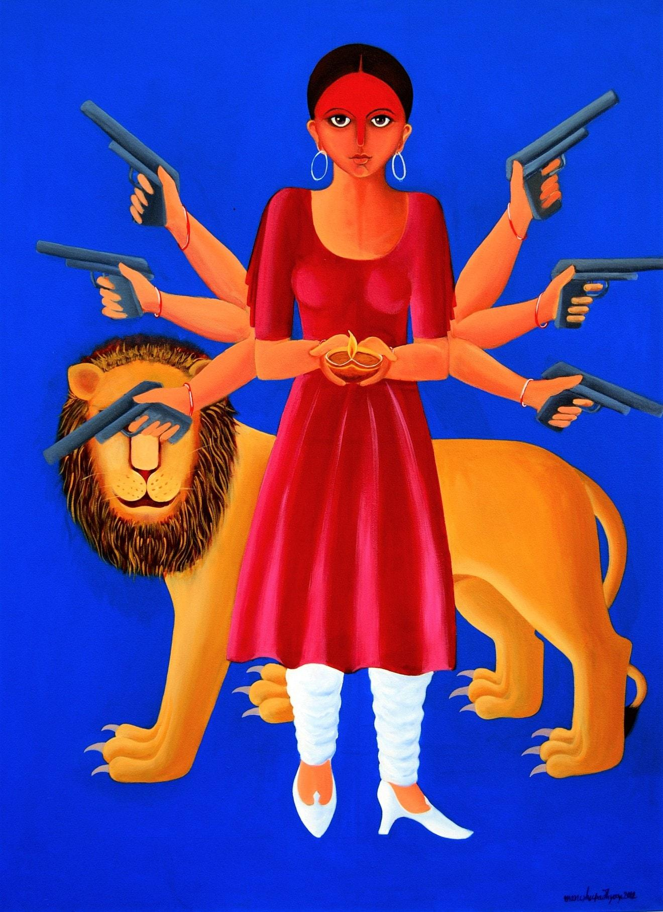 """Durga-3, Acrylic on Canvas, Blue, Red, Yellow by Contemporary Artist """"In Stock"""""""