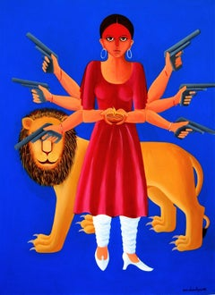 "Durga-3, Acrylic on Canvas, Blue, Red, Yellow by Contemporary Artist ""In Stock"""