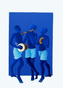 """Innocent-3, Acrylic on Canvas, Blue, White by Contemporary Artist """"In Stock"""""""