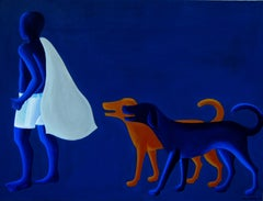 """Innocent-4, Acrylic on Canvas, Blue, White by Contemporary Artist """"In Stock"""""""