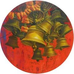 "Aradhana-27, Acrylic on Canvas, Red, Orange Contemporary Artist ""In Stock"""