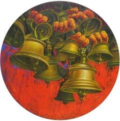 "Aradhana-28, Acrylic on Canvas, Red, Orange Contemporary Artist ""In Stock"""