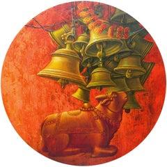 "Aradhana-31, Acrylic on Canvas, Red, Orange Contemporary Artist ""In Stock"""