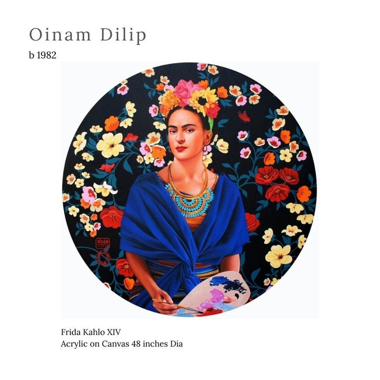 """Oinam Dilip Figurative Painting - Frida Kahlo XIV, Acrylic on Canvas by Contemporary Artist """"In Stock"""""""