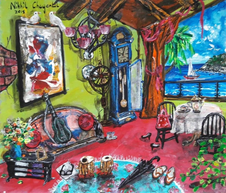 """Nikhil Chaganlal Figurative Painting - Goa Beach House, Acrylic on Canvas Board, Green, Red by Indian Artist """"In Stock"""""""