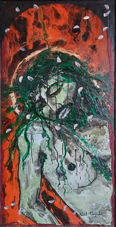 "Jesus, Crucified, Acrylic on Canvas Board, Contemporary Indian Artist ""In Stock"""