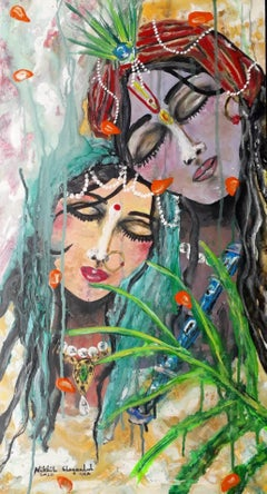"""Radha Krishna, Acrylic on Canvas Board by Contemporary Indian Artist """"In Stock"""""""