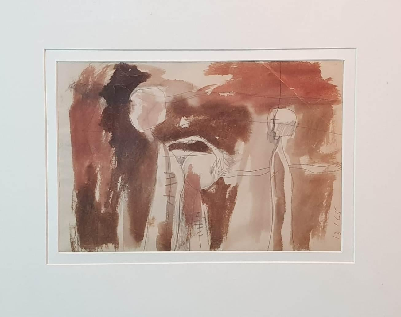 """Figurative, Drawing, Watercolor on Paper by Modern Indian Artist """"In Stock"""""""