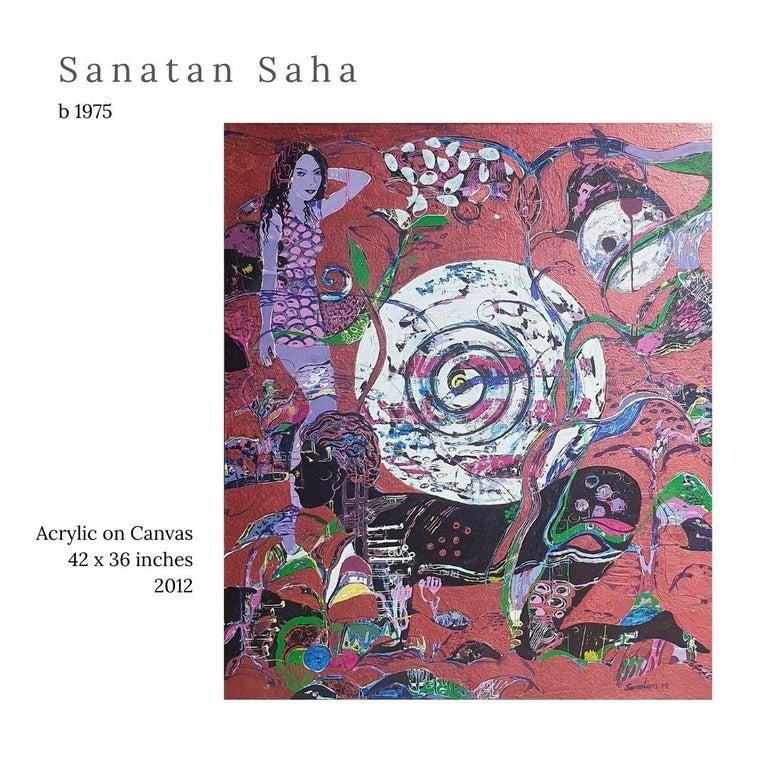 "Sanatan Saha Figurative Painting - Untitled, Acrylic on Canvas by Contemporary Artist ""In Stock"""