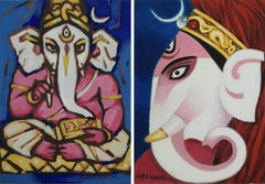 """Ganesha, God, Indian Festival, Tempera on Board by Indian Artist """"In Stock"""""""