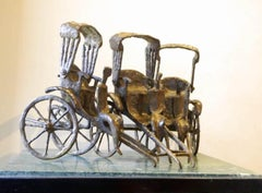 """Rickshaw Stand, Bronze Sculpture by Contemporary Indian Artist """"In Stock"""""""