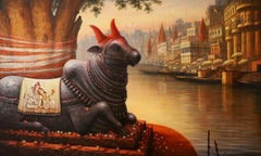 """Nandi, Acrylic on Canvas by Contemporary Indian Artist """"In Stock"""""""