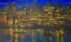 """Cityscape, Acrylic on Canvas by Contemporary Indian Artist """"In Stock"""""""