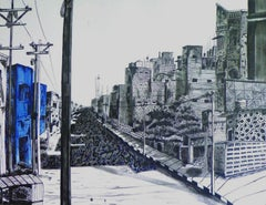 """Street of Music, Ink on Paper by Contemporary Indian Artist """"In Stock"""""""