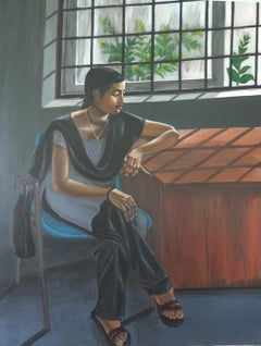 """Pensive Mood, Acrylic on Canvas by Contemporary Indian Artist """"In Stock"""""""