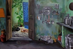 """Reflections of Traditions-1, Acrylic on Canvas by Contemporary Artist """"In Stock"""""""