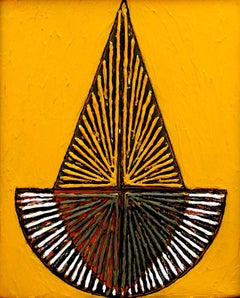 """Untitled-143, Acrylic on Canvas, Yellow, Red by Contemporary Artist """"In Stock"""""""
