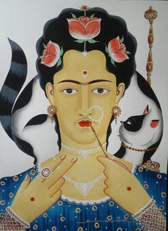 """Frida Kahlo with a Hookah, Watercolor & Gouache by Contemporary Artist""""In Stock"""""""