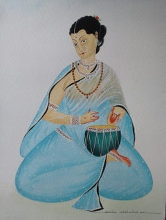 """Bibi Playing Tabla, Watercolor, Gouache on paper, Contemporary Artist """"In Stock"""""""