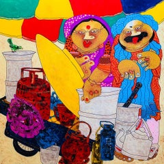 """Bawa Biwi, Oil on Reverse Acrylic Sheet by Contemporary Artist """"In Stock"""""""