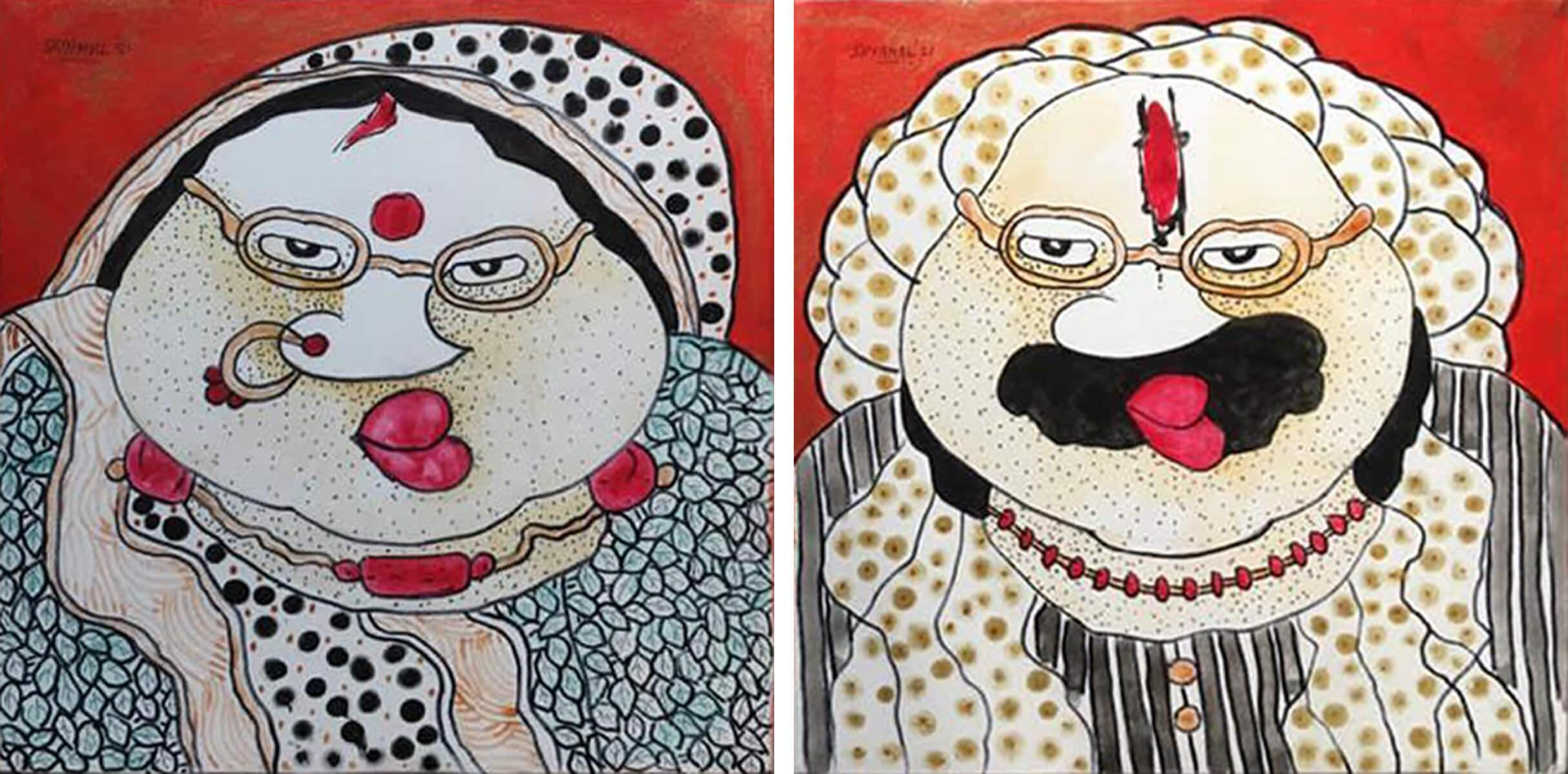 """Bawa Biwi, Acrylic on Canvas (Set of 2) by Contemporary Artist """"In Stock"""""""